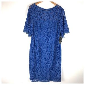 NWT Adrianna Papell Blue Lace Dress Size 12